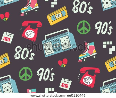 Vintage background with television, telephone and other object