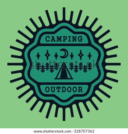 vintage badge camping outdoor...