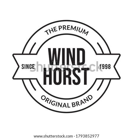 Vintage badge, label or logo. Outline stamp design. Premium product, original brand circle emblem for business and fashion typography. Vector illustration.