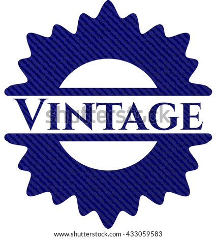 Vintage badge with jean texture