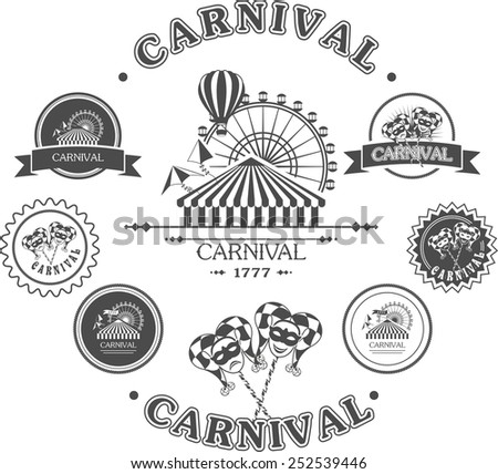 vintage badges of various shapes and masks carnival amusement park with attractions
