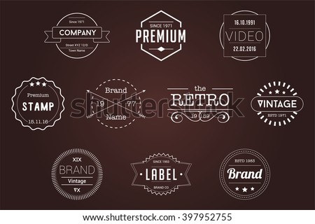 Vintage Badges White Vector Logos