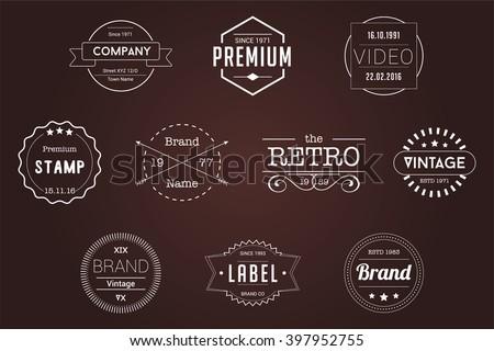 Vintage Badges White Vector Logos