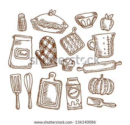 Vintage Baking Supplies Stock Vector 136140086 : Shutterstock