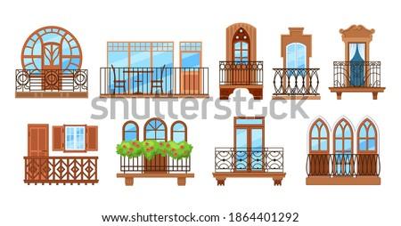 Vintage balcony with facade building. Balcony windows, house facade of wooden banister porch or metal forged fences. Home facade balconies with windows, doors, potted plants retro decor cartoon vector