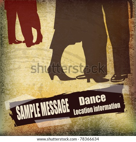 Vintage Ballroom Dance vector flyer, for an event or Dance School