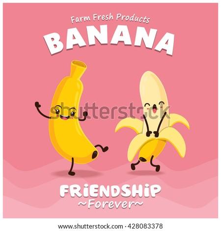 Vintage Banana poster design with vector banana character.