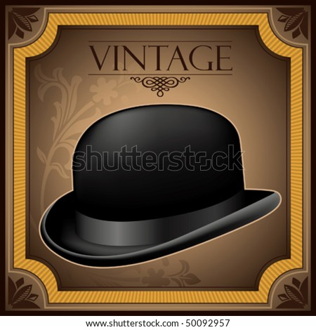 Vintage banner with bowler hat. Vector illustration. - stock vector