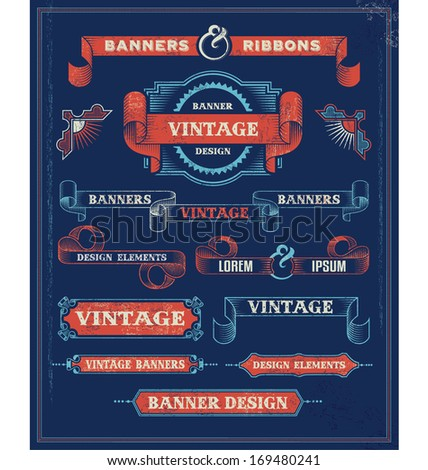 vintage banners and ribbon