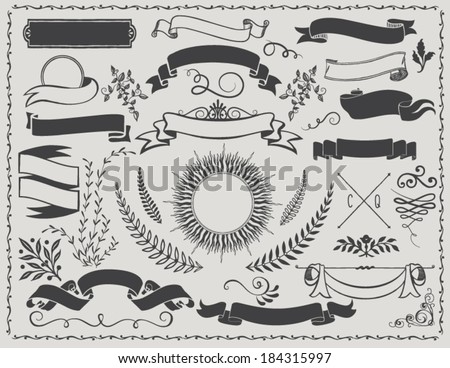 stock-vector-vintage-banners-retro-vector-design-elements-including-ribbons-branches-swirls-curls