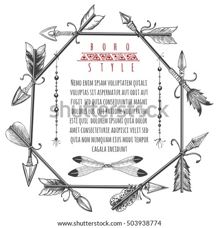 Vintage barbarian arrows and feathers frame. Vector ornate native american arrows sketch border