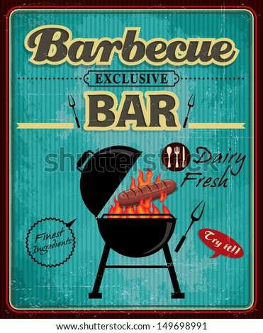 Vintage barbecue bar with hotdog poster design