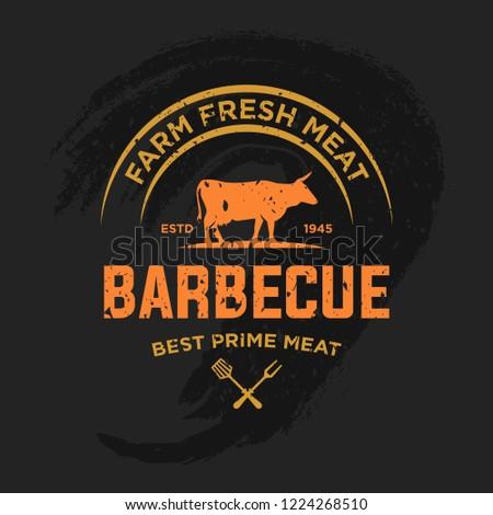Vintage barbecue restaurant logo design. Steak Logo Vintage Style