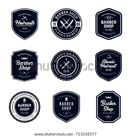 Vintage Barber Shop Badges Vector Set