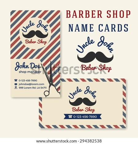 Vintage Barber Shop Business Name Card Template.