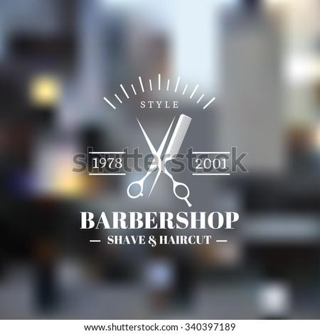 vintage barber shop icon emblem ...