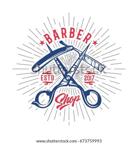 vintage barber shop logo ...