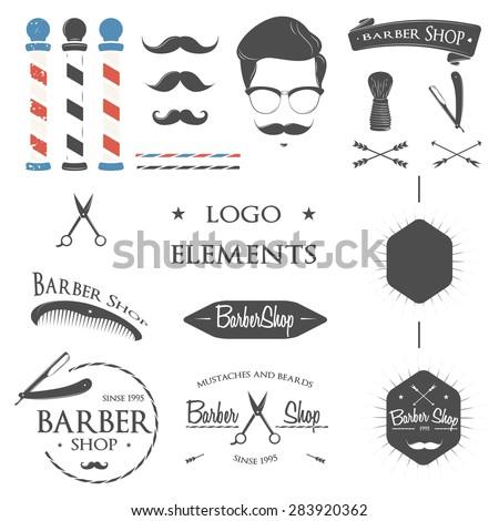 Vintage barber shop logo set, badges and design element. Gentleman set. Icons for your design. Logo set