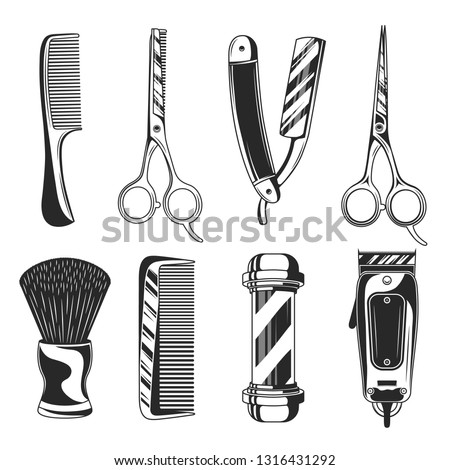 Vintage barber shop set items. Barbershop  equipments. Barber pole, Razor blade, hair clipper, scissors, comb, straight razor. Vector retro barber elements isolated on white background