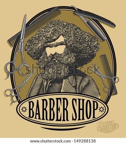 vintage barber shop sign board...