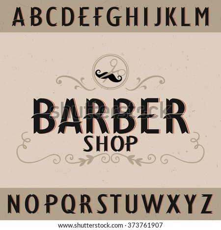 vintage barber typeface with