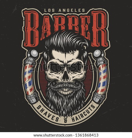 Vintage barbershop colorful print with bearded and mustached trendy skull and barber poles isolated vector illustration