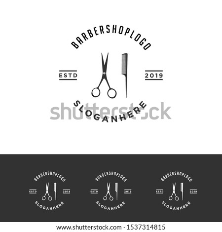 Vintage barbershop emblems. Can be used for labels, badges and logos. Unique vector design.