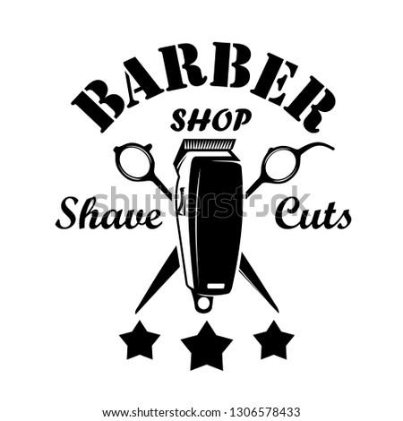 Vintage barbershop emblems, labels, badges, logos. Layered. Vector
