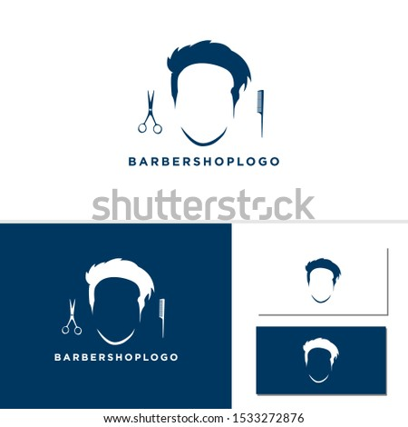 vintage barbershop emblems, labels, badges, logos vector design