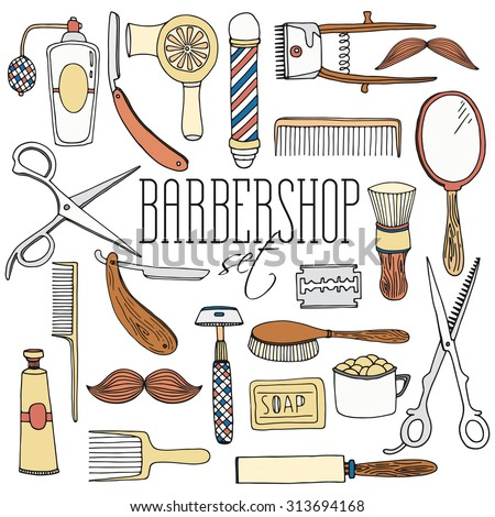 Vintage barbershop tool collection. Retro style set of instruments for shaving, hair-cutting.  Hairdressing salon isolated objects