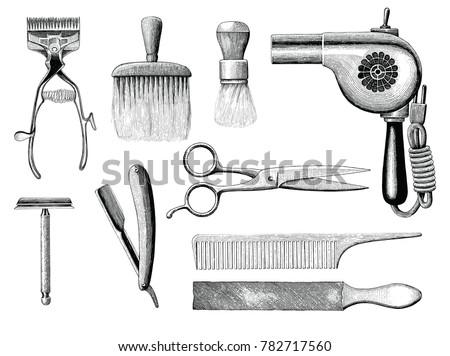 vintage barbershop tools hand