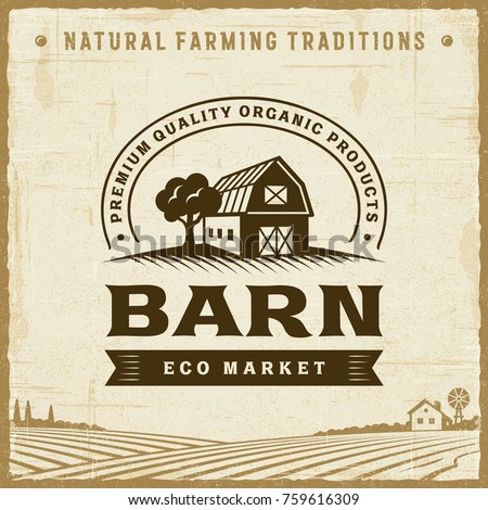 Vintage Barn Label. Editable EPS10 vector illustration with clipping mask and transparency in retro woodcut style.