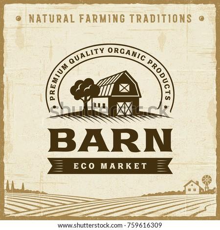 vintage barn label. editable...