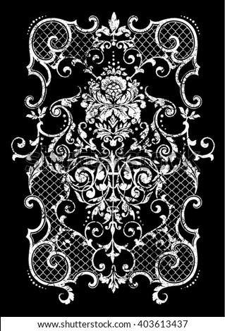 Vintage baroque border flower motif retro vector
