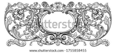 Vintage Baroque floral frame border Victorian flower ornament scroll engraved heraldic shield retro pattern decorative design tattoo black and white filigree calligraphic vector swirl leaf monogram