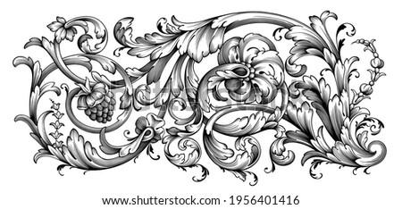 Vintage Baroque floral frame border Victorian flower ornament scroll engraved retro pattern decorative design tattoo black and white filigree calligraphic vector heraldic shield swirl leaf monogram