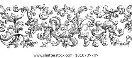 Vintage Baroque floral seamless pattern frame border Victorian flower ornament scroll engraved retro decorative design tattoo black and white filigree calligraphic vector heraldic shield swirl leaf