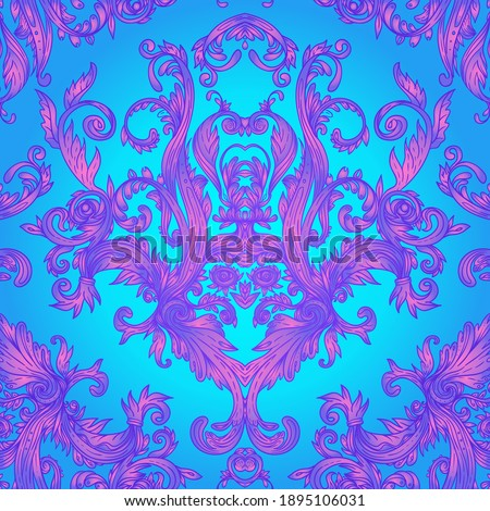 Vintage baroque floral seamless pattern in bright neon colors. 1980s style. Ornate vector decoration. Luxury, royal and Victorian concept. Vintage design with repetition. Heraldic floral texture.