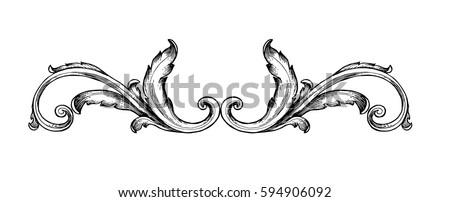 Vintage baroque frame scroll