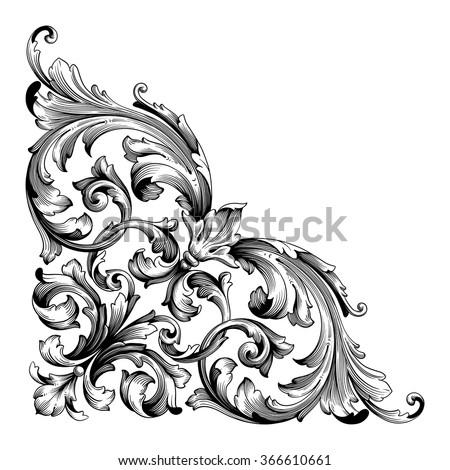 Vintage Baroque Frame Scroll Ornament Engraving Border