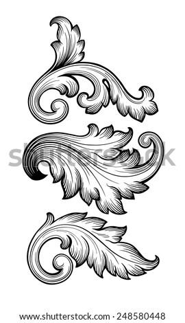 Vintage baroque leaf scroll set black and white foliage floral ornament filigree engraving retro style design element vector
