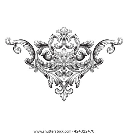 Vintage baroque ornament. Retro pattern antique style acanthus. Decorative design element filigree calligraphy vector.