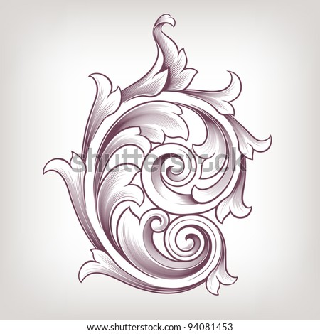 Vintage baroque scroll design element flower motif pattern vector