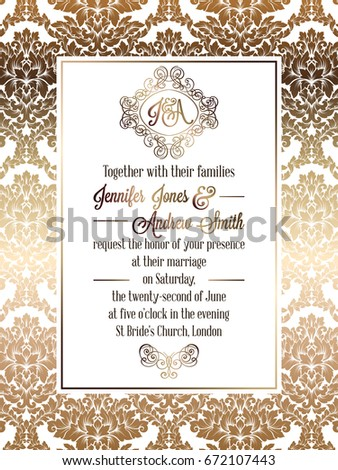 Vintage baroque style wedding invitation card template.. Elegant formal design with damask background, traditional decoration for wedding. Gold on white background #672107443