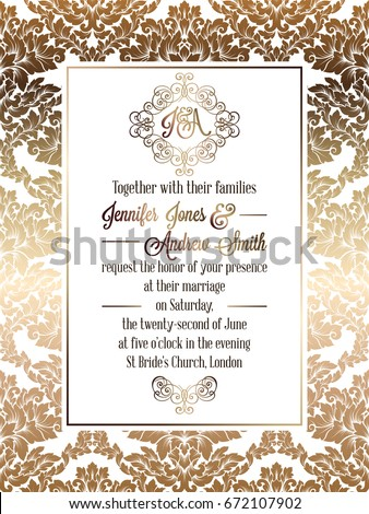 Vintage baroque style wedding invitation card template.. Elegant formal design with damask background, traditional decoration for wedding. Gold on white background #672107902