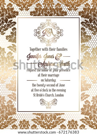 Vintage baroque style wedding invitation card template.. Elegant formal design with damask background, traditional decoration for wedding. Gold on white background #672176383