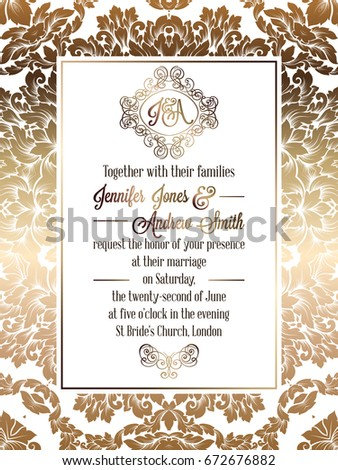 Vintage baroque style wedding invitation card template.. Elegant formal design with damask background, traditional decoration for wedding. Gold on white background #672676882