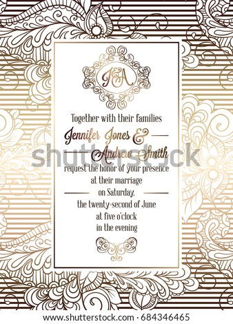 Vintage baroque style wedding invitation card template.. Elegant formal design with damask background, traditional decoration for wedding. Gold on white background #684346465