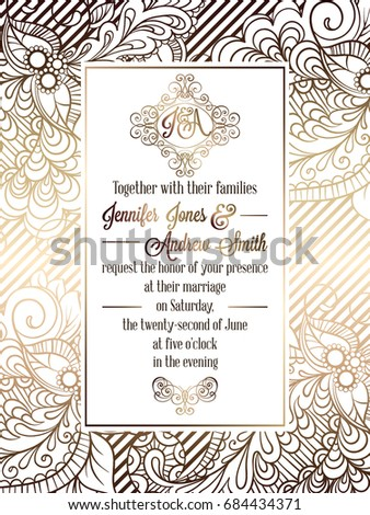 Vintage baroque style wedding invitation card template.. Elegant formal design with damask background, traditional decoration for wedding. Gold on white background #684434371