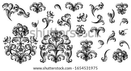 Vintage Baroque Victorian frame border floral ornament leaf scroll engraved retro flower pattern decorative design tattoo black and white Japanese filigree calligraphic vector heraldic swirl